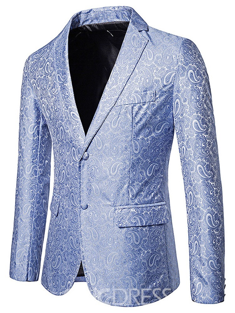 Ericdress Single-Breasted Notched Lapel Color Block Men's leisure Blazer