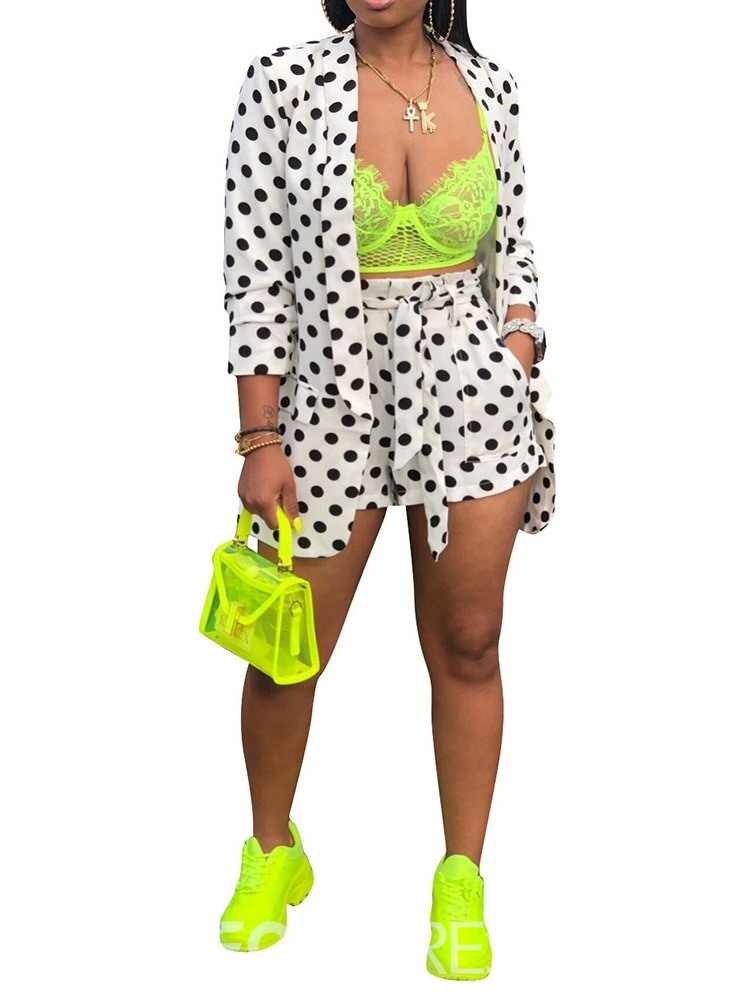 Ericdress Polka Dots Shorts Print Wide Legs Wrapped Two Piece Sets