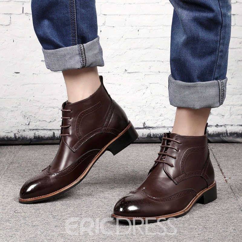 Ericdress PU Lace-Up Front Pointed Toe Men's Work Boots