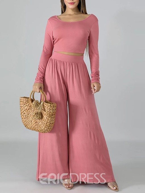 Ericdress Plain Wide Legs Pullover Two Piece Sets