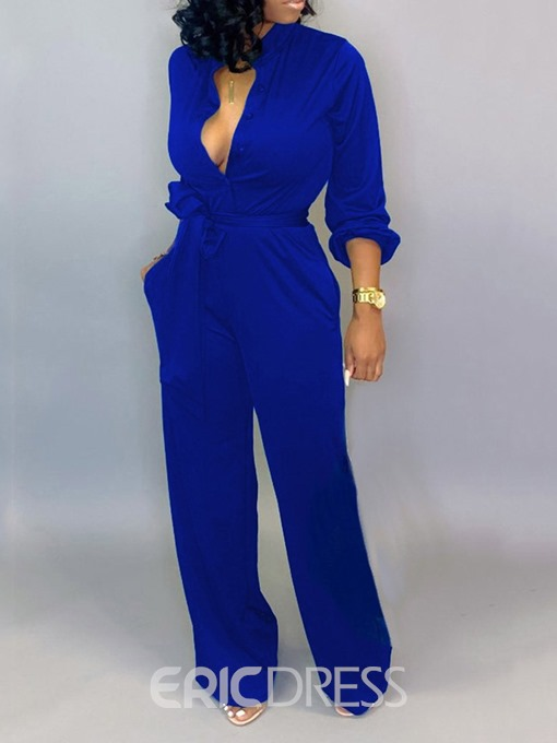 Ericdress Button Full Length Plain Straight Loose Jumpsuit