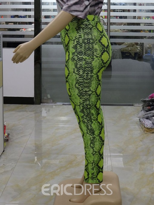 Ericdress Plus Size Serpentine Print Skinny Full Length Casual Pants