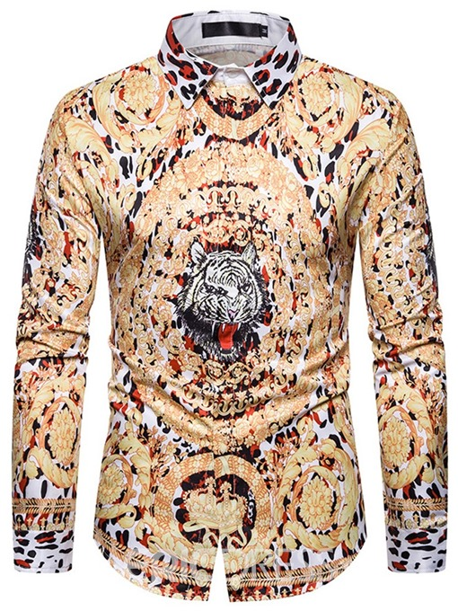 Ericdress Casual Animal Button Single-Breasted Men's Slim Shirt