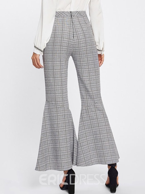 Ericdress Print Loose Plaid Bellbottoms Full Length Casual Pants