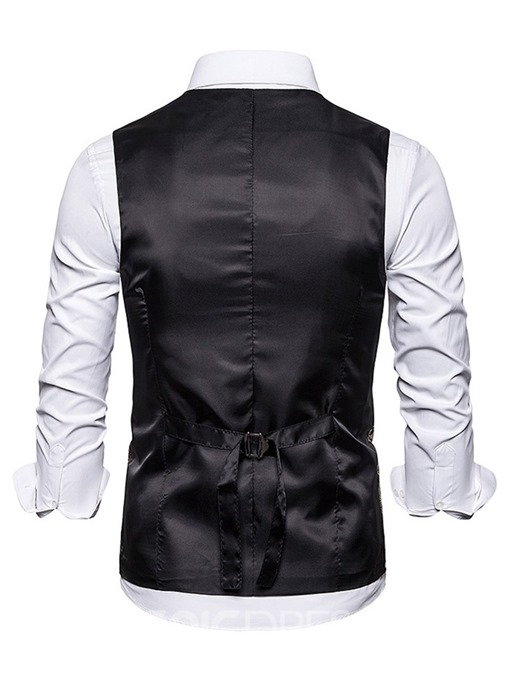 Ericdress Color Block Button V-Neck Fashion Men's Double-Breasted Waistcoat