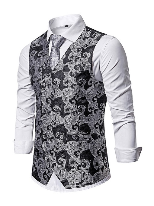 Ericdress Color Block Button V-Neck Fashion Men's Single-Breasted Waistcoat