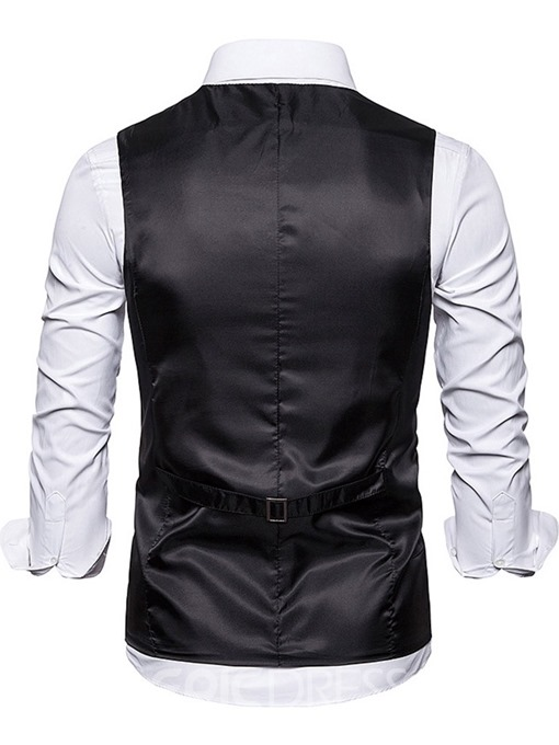 Ericdress Color Block V-Neck Button Men's Fashion Waistcoat