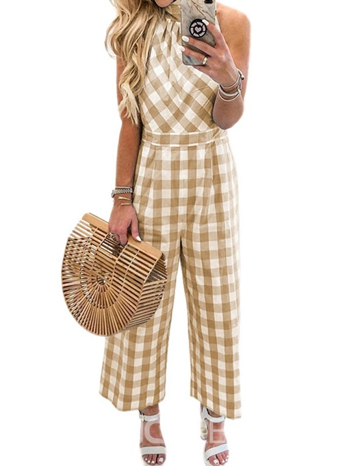 Ericdress Print Plaid Mid-Calf Loose Wide Legs Jumpsuit