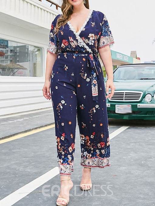 Ericdress Plus Size Floral Ankle Length Lace-Up Wide Legs Loose Jumpsuit