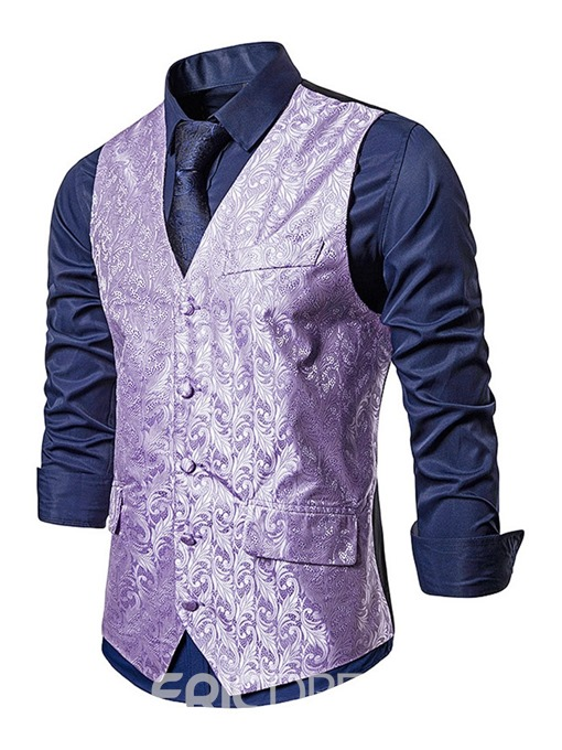Ericdress Color Block V-Neck Fashion Men's Single-Breasted Waistcoat
