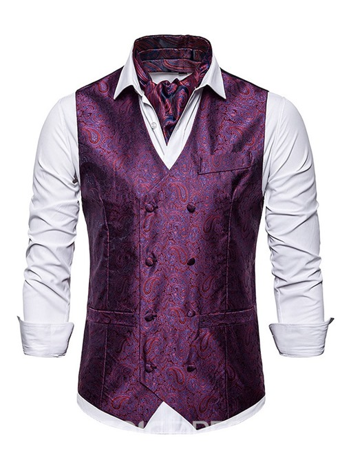 Ericdress V-Neck Print Color Block Men's Double-Breasted Waistcoat
