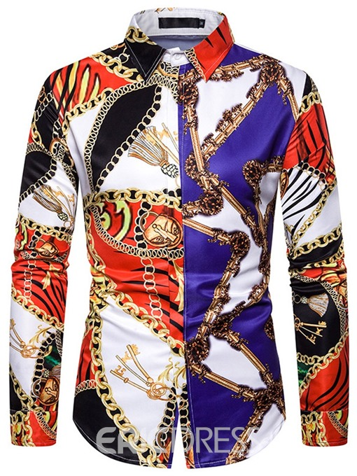 Ericdress African Fashion Dashiki Lapel Casual Color Block Men's Single-Breasted Shirt