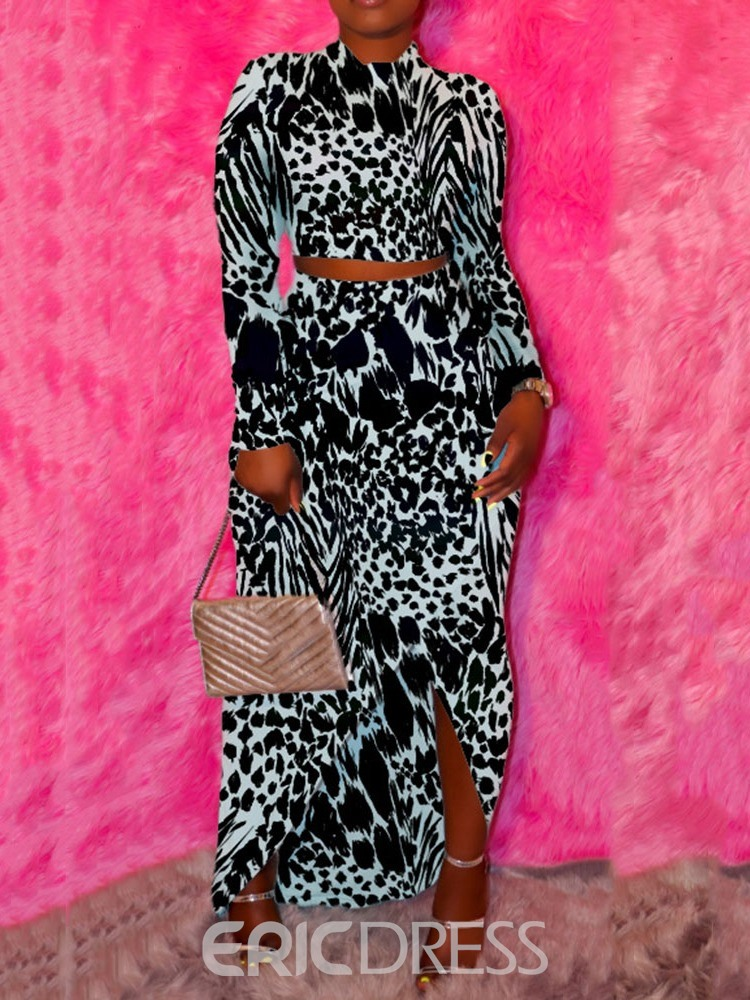 Ericdress Print Asymmetrical Pullover Two Piece Sets