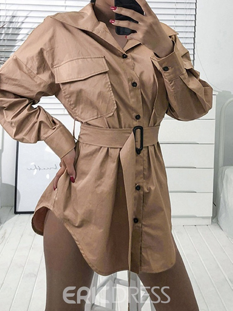 Ericdress Lapel Mid-Length Single-Breasted Long Sleeve Loose Trench Coat