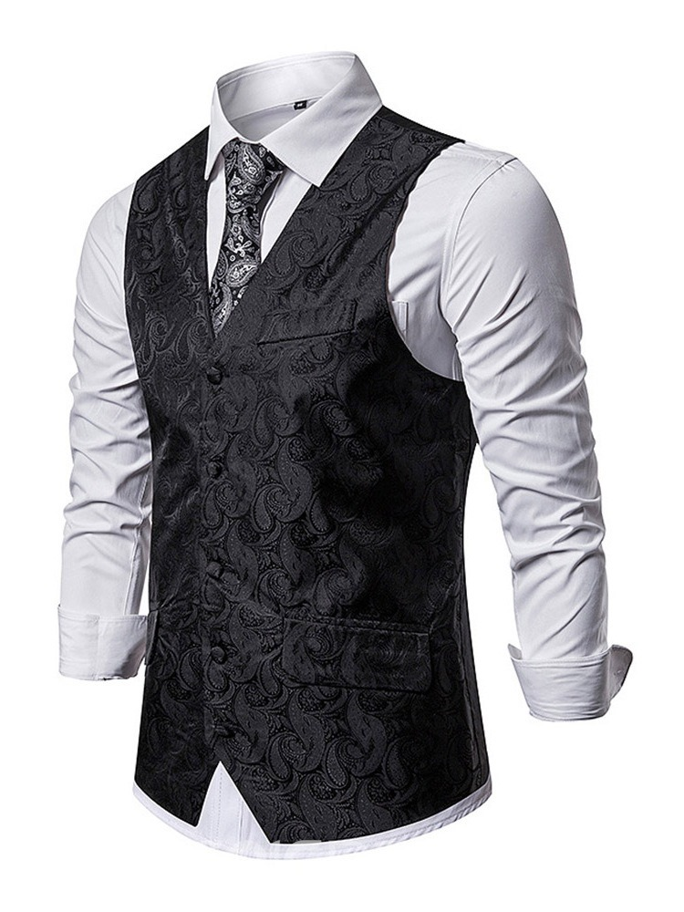 Ericdress Color Block Patchwork V-Neck Fashion Men's Single-Breasted Waistcoat