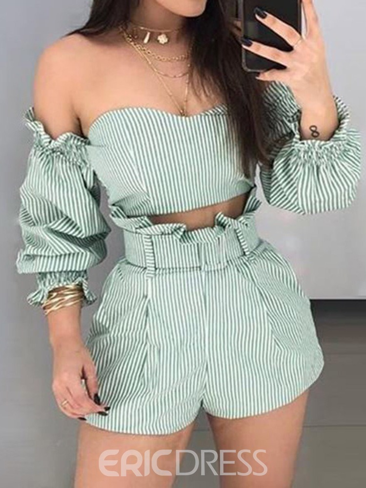 Ericdress Fashion Off Shoulder Stripe Print Wide Legs Pullover Two Piece Sets