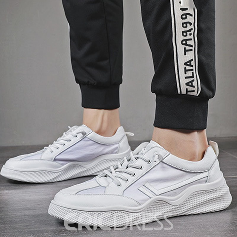 Ericdress Color Block Lace-Up Round Toe Skate Shoes For Men