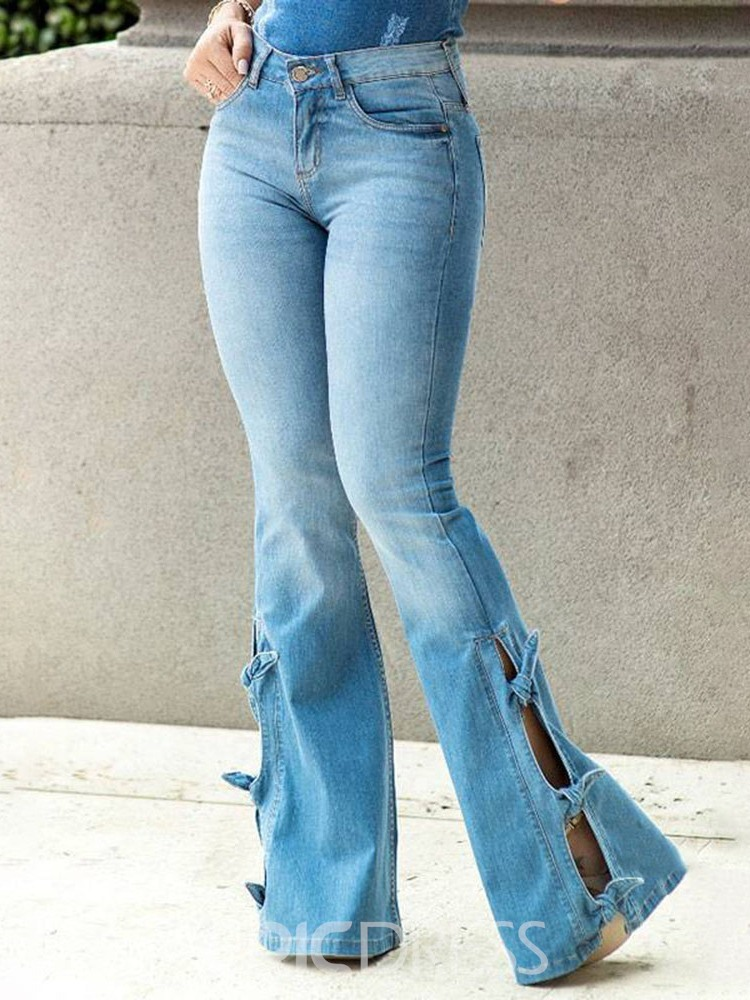 Ericdress Bellbottoms Washable Slim Zipper Jeans