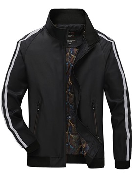 Ericdress Stripe Zipper Men's Stand Collar Jacket