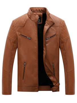 Ericdress Plain Stand Collar Standard Men's Zipper Jacket