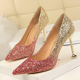 Ericdress Gradient Sequin Stiletto Heel Slip-On Women's Pumps
