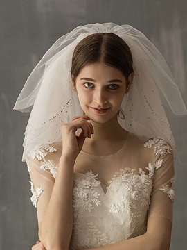 Ericdress 3-Layer Bead Cut Edge Wedding Veil