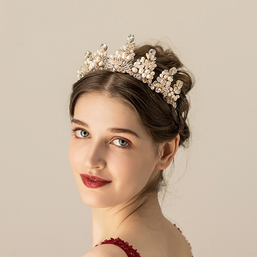 Pearl Inlaid European Tiara Hair Accessories (Wedding)