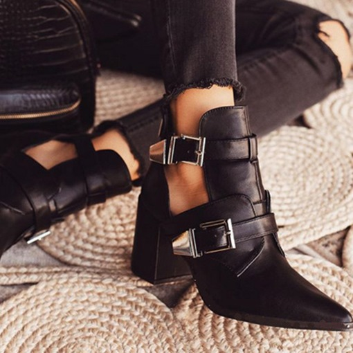 Ericdress Plain Hasp Pointed Toe Women's Ankle Boots