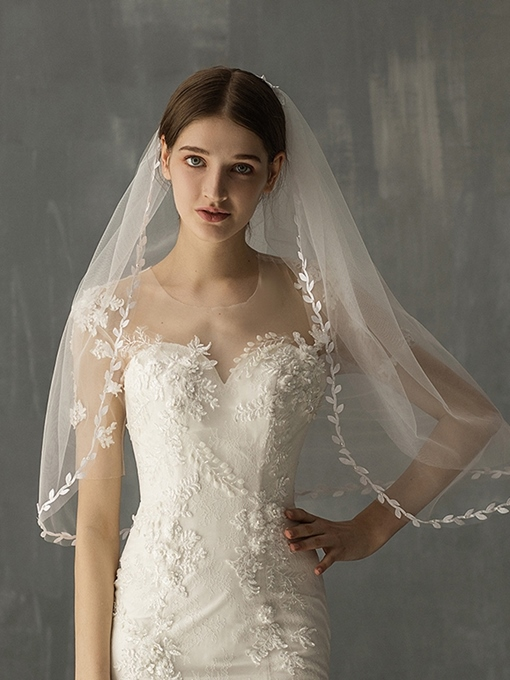 Ericdress One-Layer Lace Edge Elbow Wedding Veil 2019