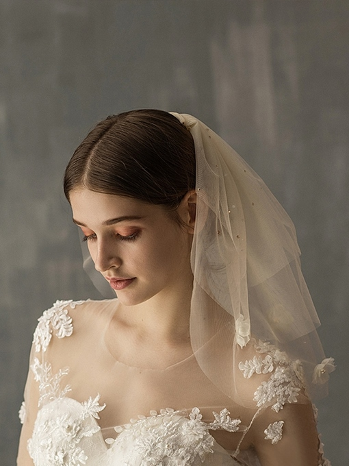 Ericdress Beading Flowers Short Wedding Veil 2019