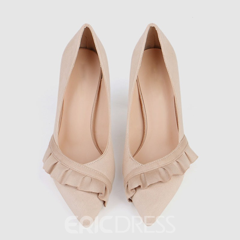 Ericdress Ruffles Stiletto Heel Slip-On Women's Pumps