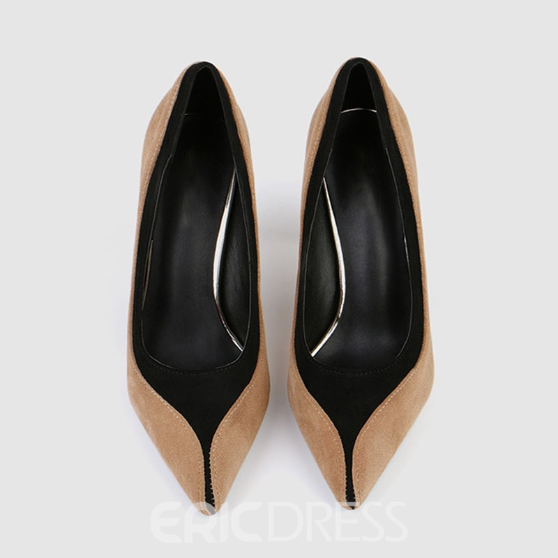 Ericdress Faux Suede Color Block Slip-On Pointed Toe Stiletto Heel Women's Pumps