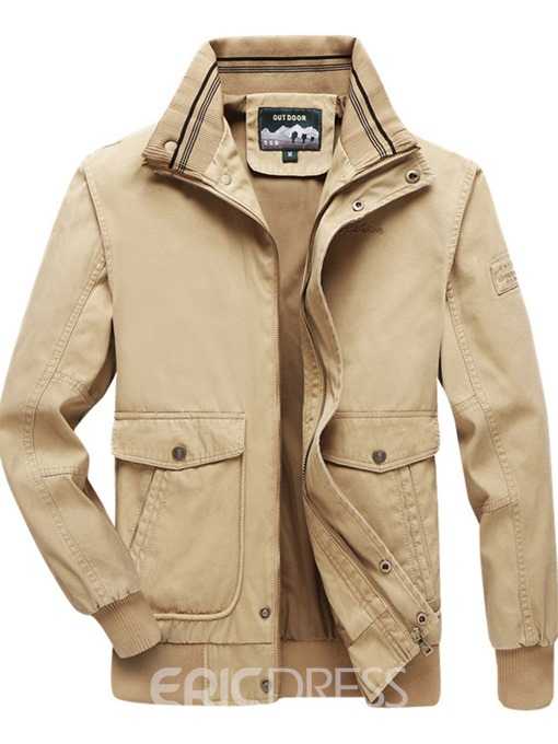 Ericdress Stand Collar Color Block Thick Men's Loose Jacket