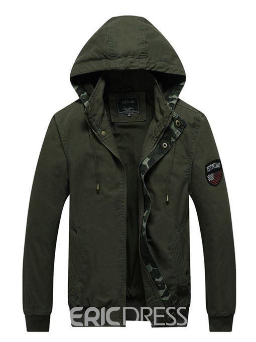 Ericdress Camouflage Zipper Men's Hooded Jacket