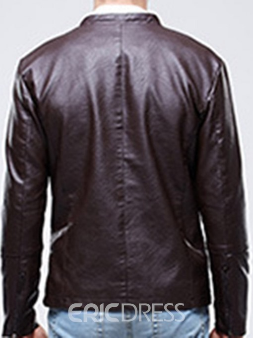 Ericdress Plain Stand Collar Men's Zipper Jacket