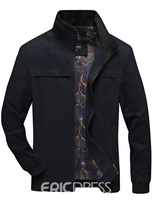 Ericdress Stand Collar Patchwork Thick Slim Men's Zipper Jacket