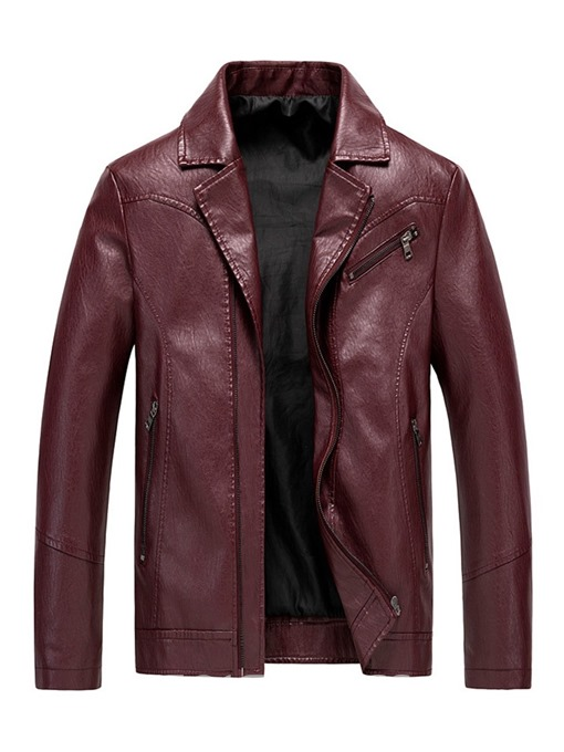 Ericdress Lapel Zipper Men's Plain Jacket