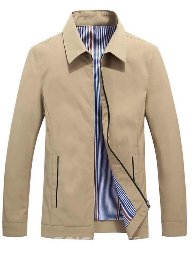 Ericdress Lapel Patchwork Men's Thick Slim Jacket