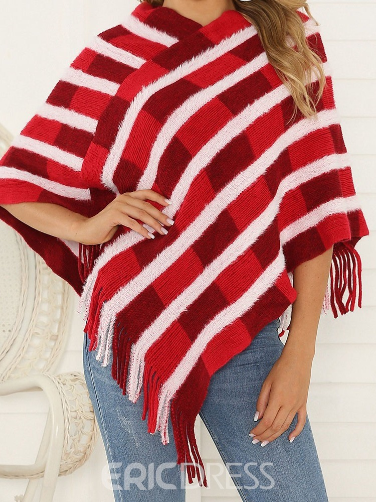 ericdress strickware western color block spring cape