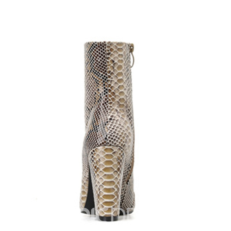 Ericdress Serpentine Pointed Toe Side Zipper Chunky Heel Women's Ankle Boots