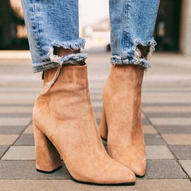Ericdress Plain Faux Suede Chunky Heel Pointed Toe Women's Ankle Boots