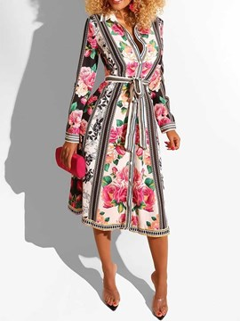 Ericdress Floral Print Lapel Long Sleeve A-Line Vintage Dress