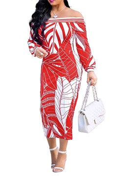 Ericdress Mid-Calf Long Sleeve Print Pullover Geometric Dress