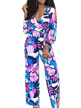 Ericdress Floral Print Full Length Slim Straight Jumpsuit