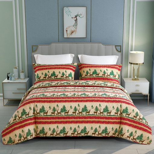 Ericdress Cotton Christmas Wash Comforter Set Three-Piece Set Reactive Printing