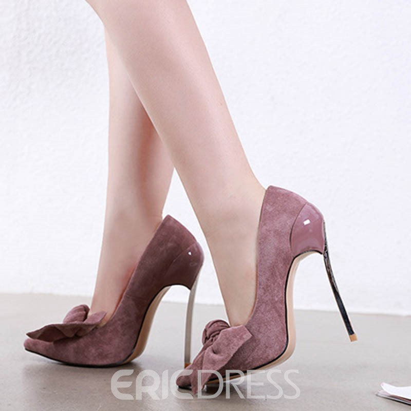 Ericdress Bow Plain Stiletto Heel Pointed Toe Women's Pumps