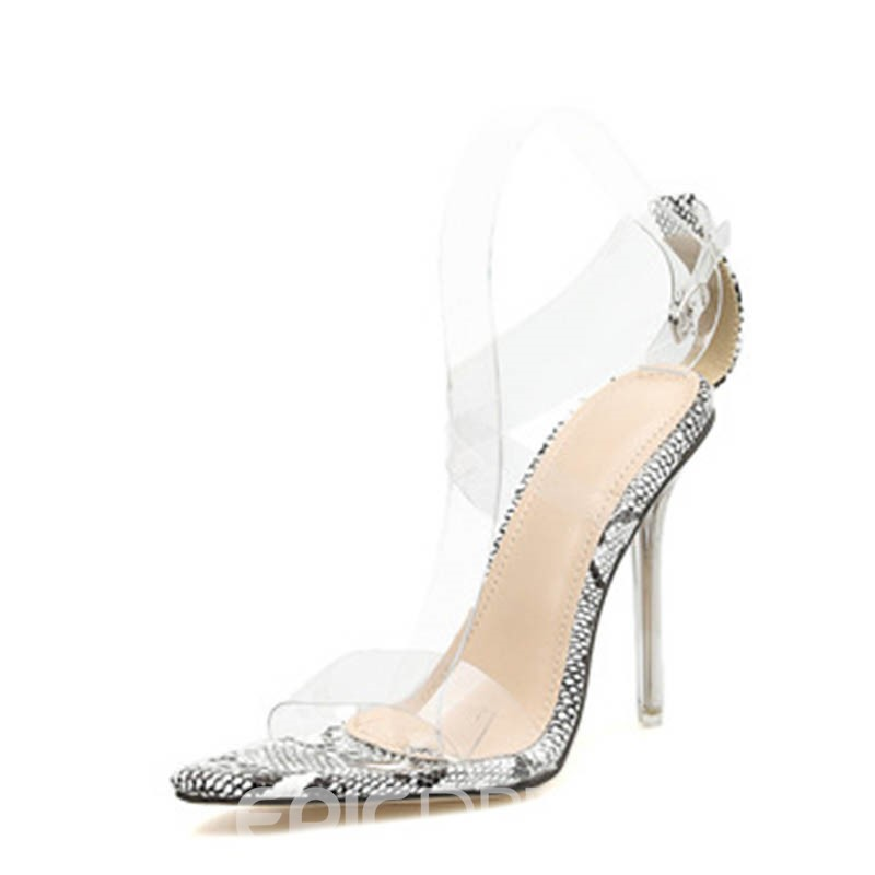 Ericdress PVC Serpentine Stiletto Heel Buckle Open Toe Women's Sandals