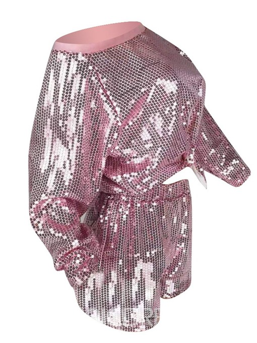 Ericdress Sequins Plain Pullover Straight Two Piece Sets