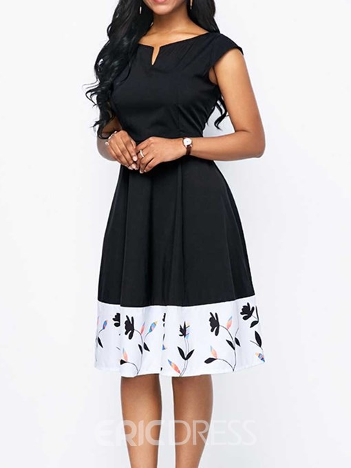Ericdress Patchwork V-Neck Knee-Length High Waist A-Line Casual Dress