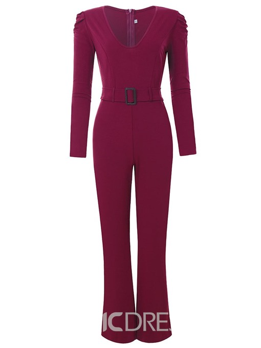 Ericdress Fashion Full Length Zipper Slim Jumpsuit